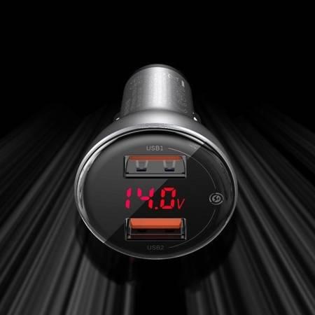 Ładowarka  samochodowa 45W 2x USB Quick Charge 3.0 Huawei SCP czarny Baseus