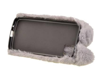 Etui z futerkiem króliczek do Huawei Y5p szary