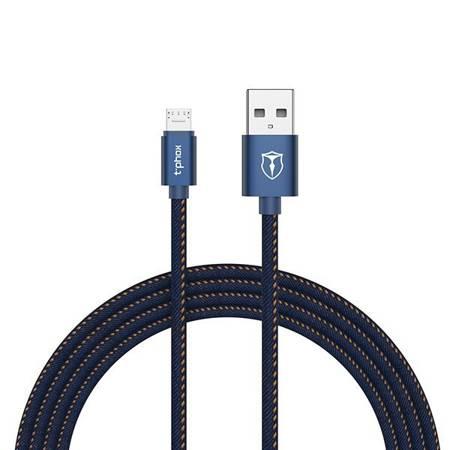 Kabel Usb - Micro USB T-Phox 1m niebieski