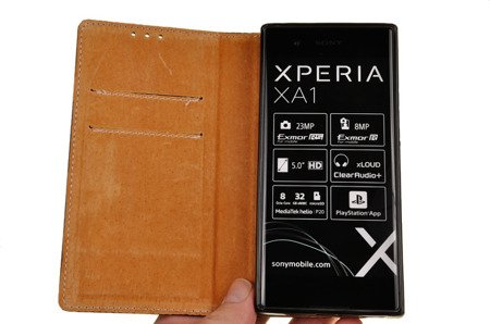 SKÓRZANE ETUI BOOK COVER do SONY XPERIA XA1